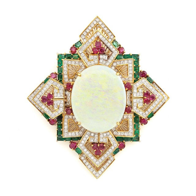 Two-Color Gold, Opal, Diamond, Ruby and Emerald Pendant