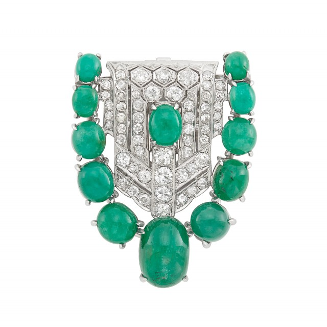Platinum, Cabochon Emerald and Diamond Clip-Brooch