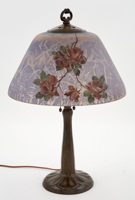 Handel Co. Patinated Metal and Reverse Painted Glass Red Roses and Butterflies Lamp