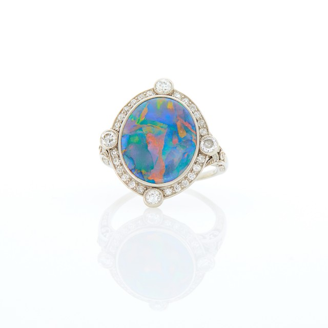 Marcus and Co. Antique Platinum, Black Opal and Diamond Ring