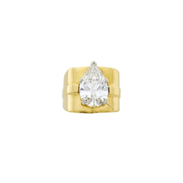 Platinum and Diamond Ring with Gold Jacket