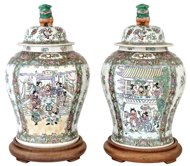 Pair of Chinese Famille Rose Style Porcelain Covered Jars