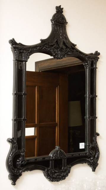 Pair of Chinoiserie Style Black Composition Mirrors