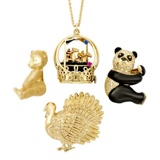 Group of Two-Color Gold, Diamond, Gem-Set & Enamel Animal Jewelry and Chain