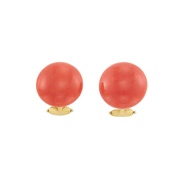 Pair of Gold and Coral Earrings, Linda Lee Johnson
