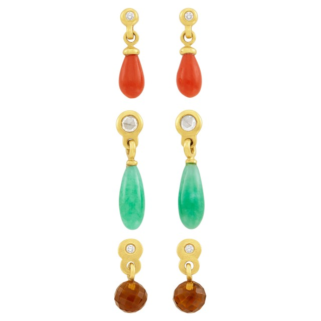Three Pairs of High Karat Gold, Coral, Smoky Quartz Bead, Jade and Diamond Pendant-Earrings, Linda Lee Johnson
