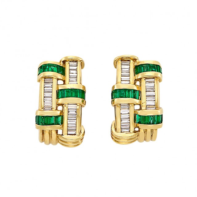 Pair of Gold, Emerald and Diamond Earclips, Charles Krypell