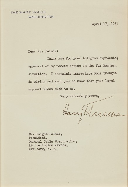TRUMAN, HARRY  Typed letter signed as President.