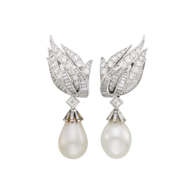 Pair of Platinum, Diamond and Cultured Pearl Pendant-Earclips