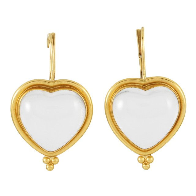Pair of High Karat Gold and Rock Crystal Heart Pendant Earrings, Temple St. Clair