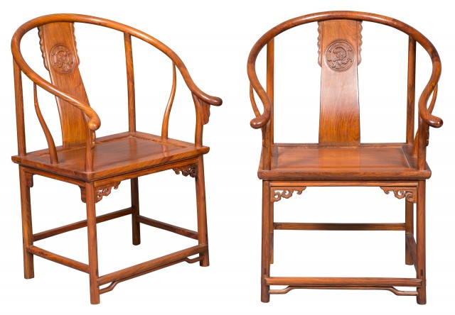 Pair of Chinese Huanghuali Yokeback Chairs