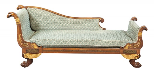 George IV Brass-Inlaid Rosewood and Parcel-Gilt Daybed