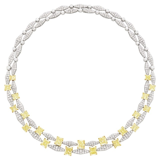 Graff Platinum, Gold, Colored Diamond and Diamond Necklace