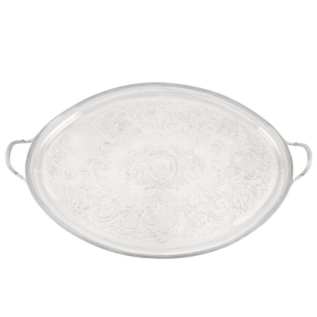 George III Irish Sterling Silver Two-Handled Tray