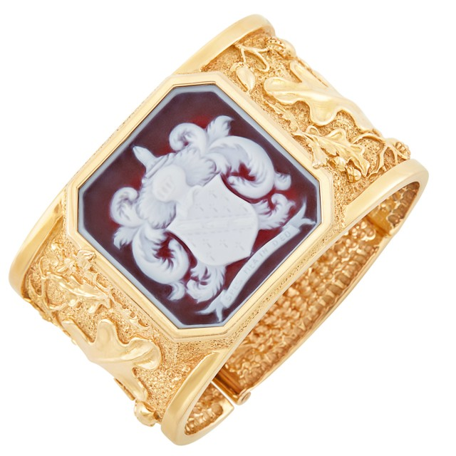 Gold and Agate Cameo Cuff Bangle Bracelet