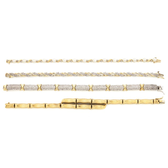 Four Gold, Diamond and Cultured Pearl Bracelets