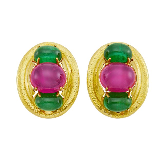 Pair of Hammered Gold and Cabochon Pink and Green Tourmaline Earclips