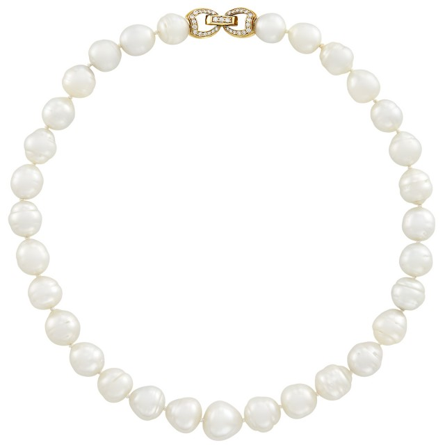 Semi-Baroque South Sea Cultured Pearl Necklace with Gold and Diamond Clasp, Mikimoto