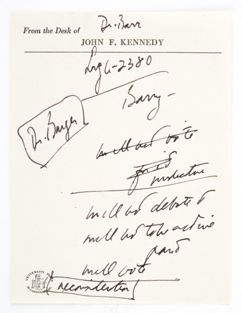 KENNEDY, JOHN FITZGERALD  Manuscript sheet of  notes on Kennedy's stationery.