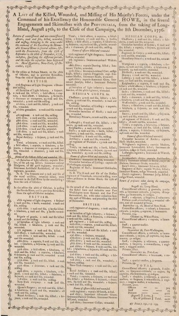 [AMERICAN REVOLUTION]  Printed broadsheet listing British casualties at the Battle of Long Island with similar lists of casualties at Lexington and Concord and Bunker Hill.