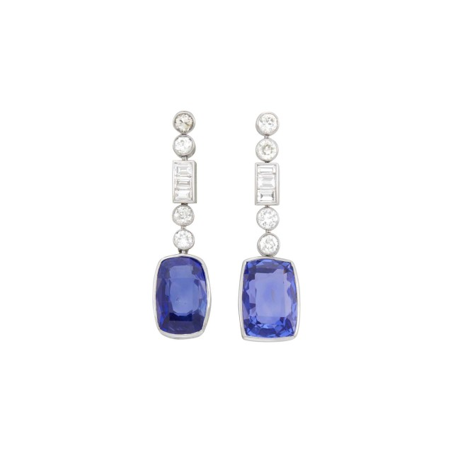 Pair of Platinum, Sapphire and Diamond Pendant-Earrings