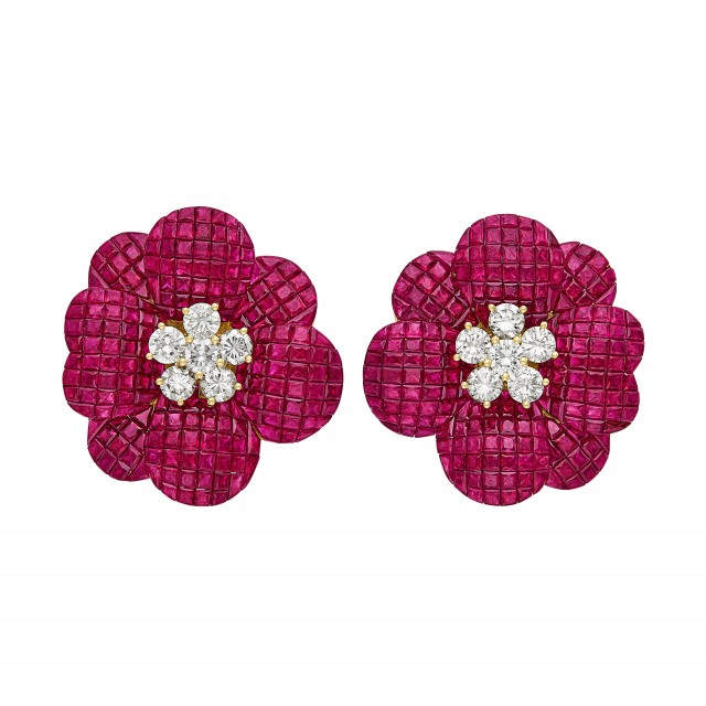 Pair of Gold, Diamond and Invisibly-Set Ruby Flower Earclips