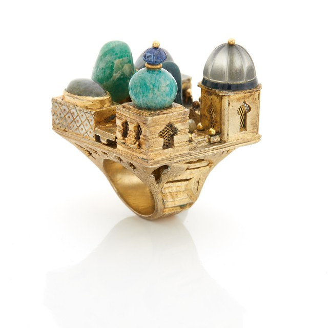 Oversized Brass and Hardstone Middle Eastern Architectural Ring