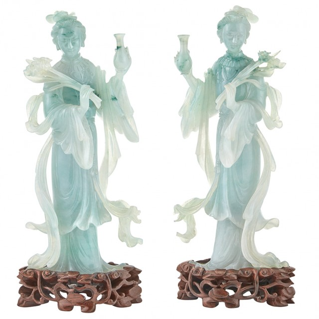 Pair Chinese Pale Green Jadeite Figures of Guanyin