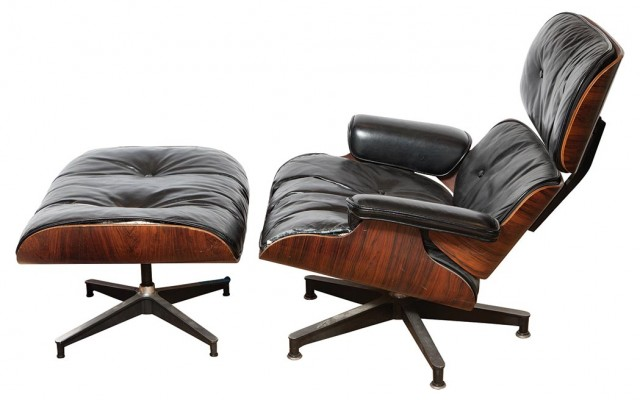 Charles and Ray Eames Rosewood and Aluminum Upholstered Lounge Chair and Ottoman