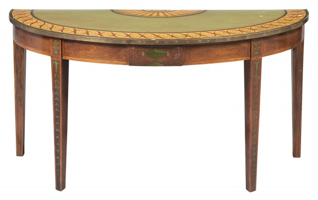 George III Painted Rosewood and Paper-Lined Demilune Table