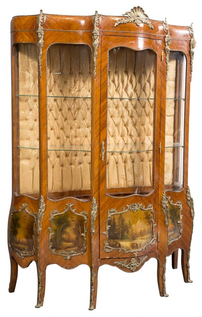 Louis XV Style Gilt-Metal-Mounted Kingwood and Paint-Decorated Vitrine