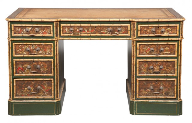Regency Style Green Japanned and Faux Bamboo Double-Pedestal Desk