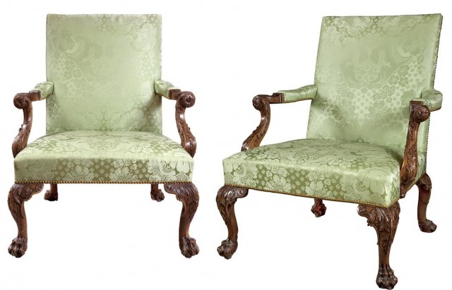 Pair of George II Walnut Library Armchairs