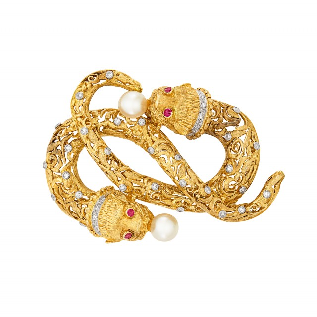 Two-Color Gold, Diamond, Cultured Pearl and Ruby Clip-Brooch, Ilias Lalaounis