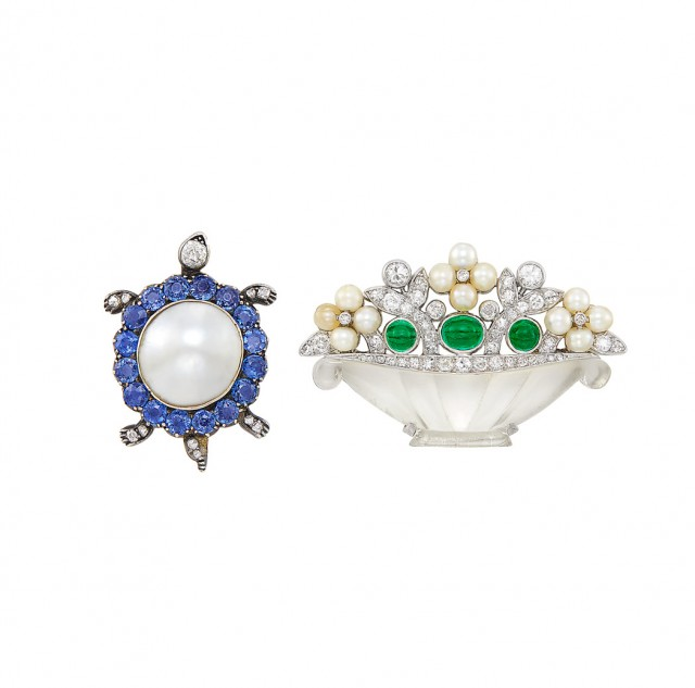 Carved Crystal, Cabochon Emerald, Pearl and Diamond Basket Pin and Antique Blister Pearl, Sapphire and Diamond Turtle Pin