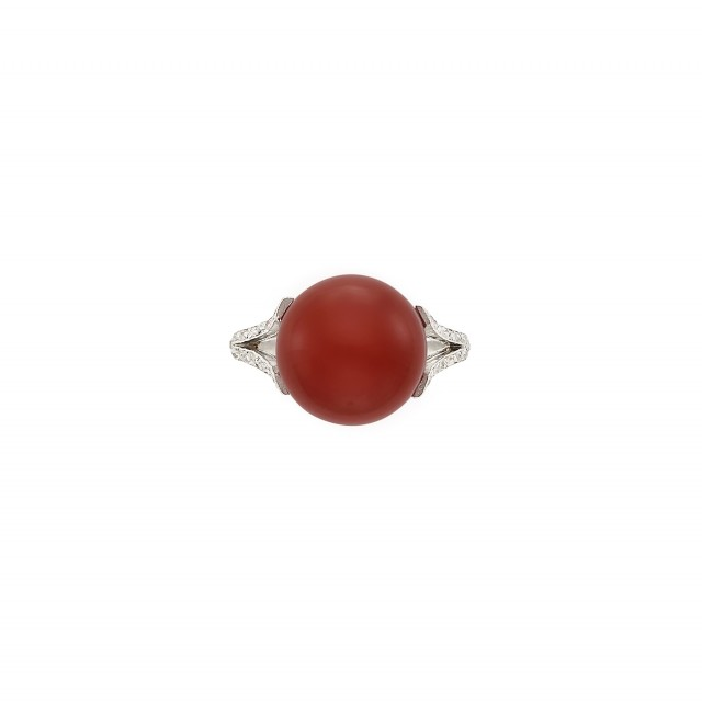 Platinum, Oxblood Coral and Diamond Ring
