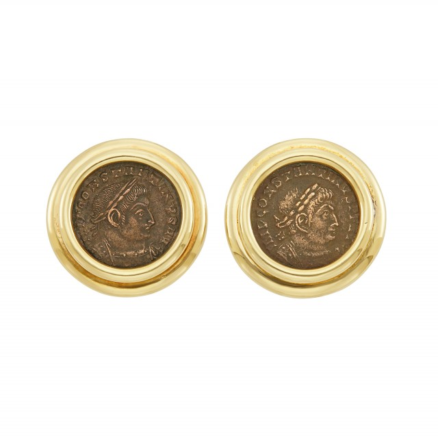 Pair of Gold and Bronze Coin Earclips