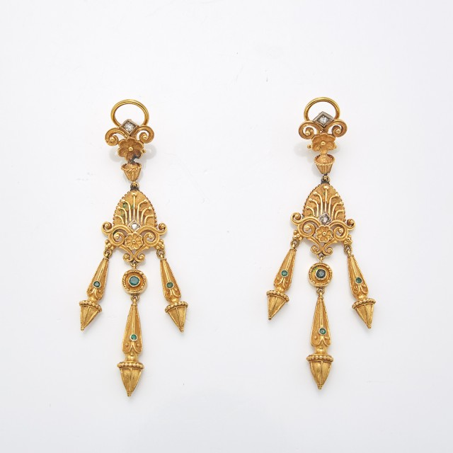 Pair of Gold, Emerald and Diamond Fringe Pendant-Earrings