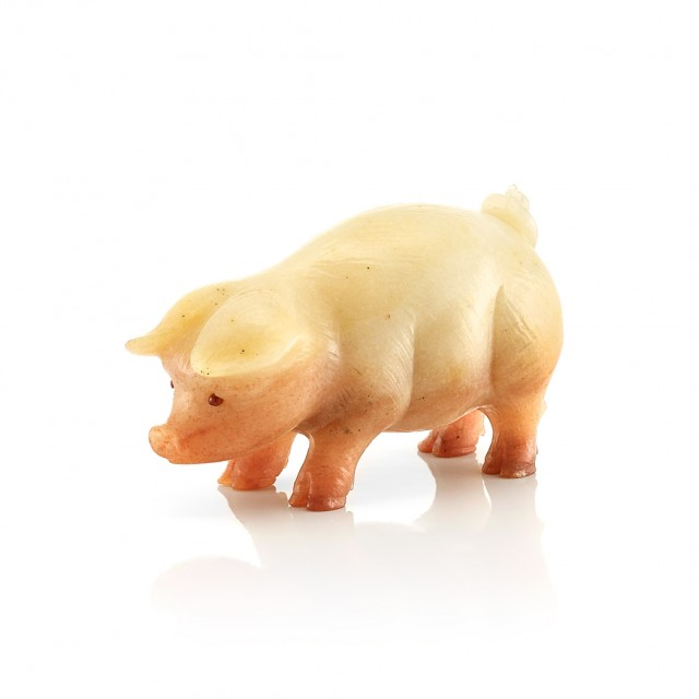 Fabergé Aventurine Quartz Model of a Pig