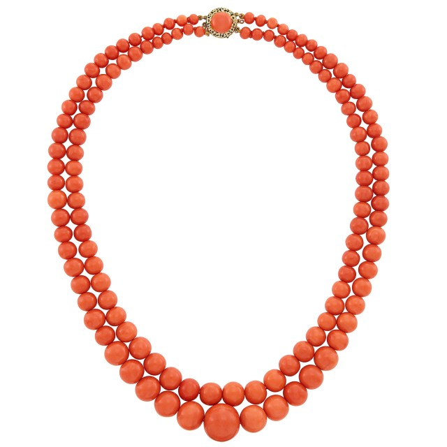 Double Strand Coral Bead Necklace with Gold and Coral Clasp