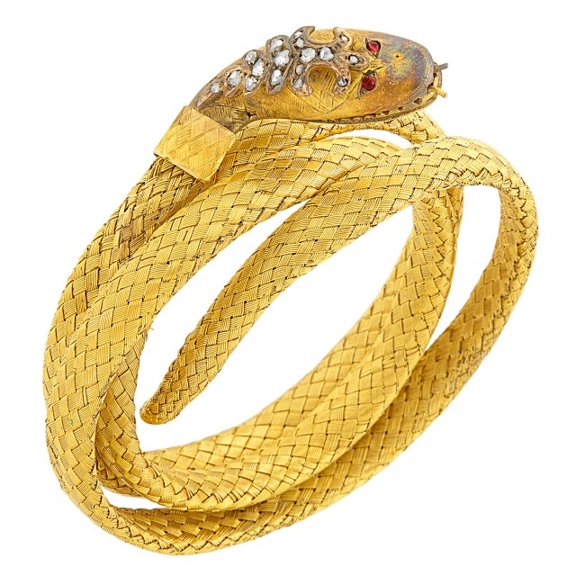 Antique Coiled Gold and Diamond Snake Bracelet