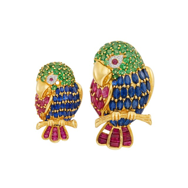 Pair of Gold, Gem-Set and Diamond Bird Brooches