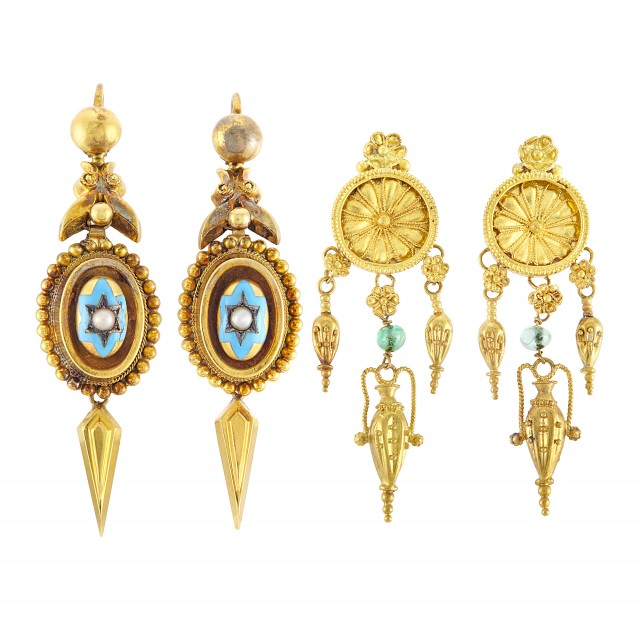 Pair of Antique Gold, Enamel and Split Pearl Pendant-Earrings and Gold and Emerald Bead Pendant-Earrings