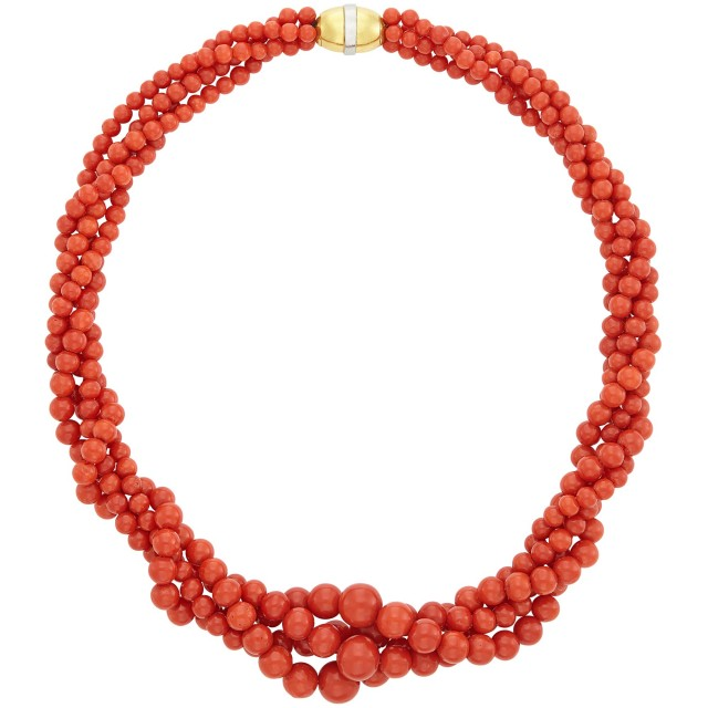 Four Strand Coral Bead Torsade Necklace with Two-Color Gold Clasp, by Linda Lee Johnson