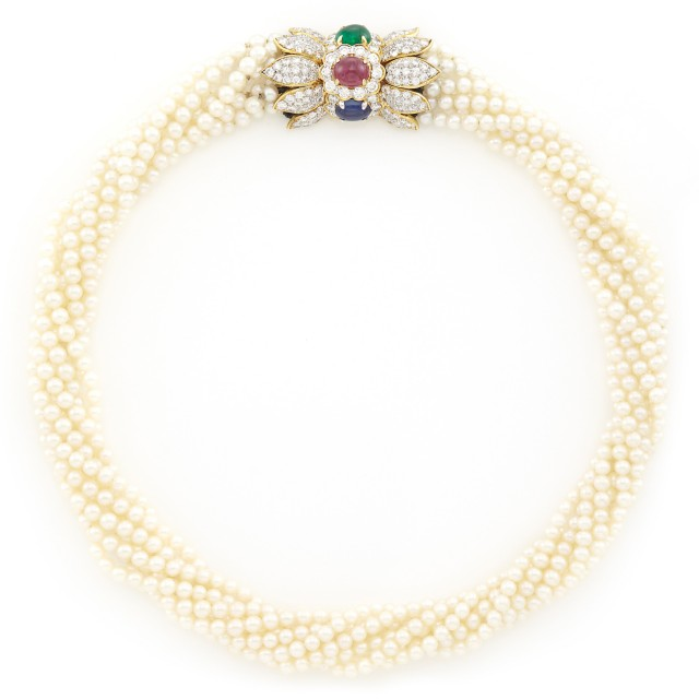 Multistrand Cultured Pearl Torsade Necklace with Gold, Diamond and Cabochon Colored Stone Clasp