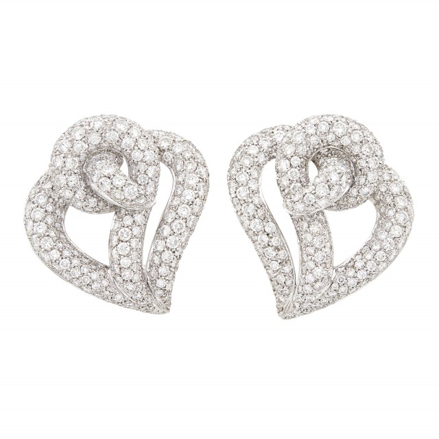 Pair of White Gold and Diamond Earclips, David Morris