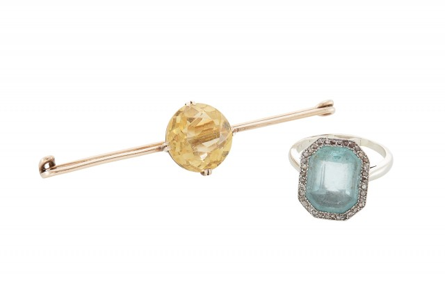 White Gold, Diamond and Aquamarine Ring; Together with a Gold and Citrine Pin