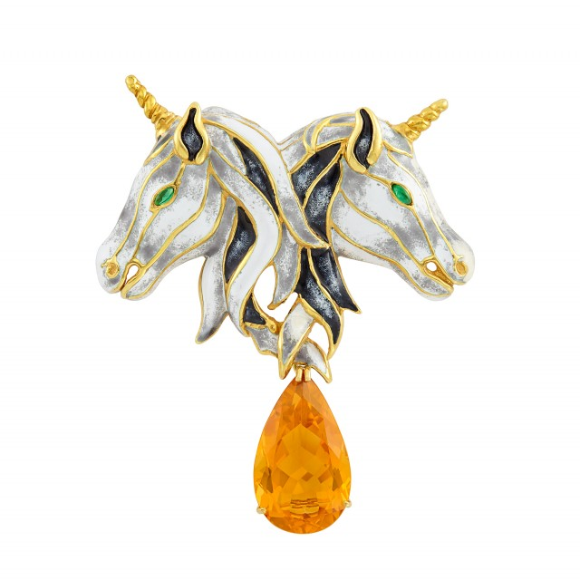 Gold, Black and White Enamel and Citrine Double Unicorn Clip-Brooch, Aldo Cipullo