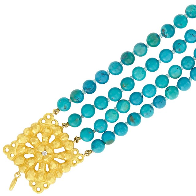 Four Strand Turquoise Bead Bracelet with High Karat Gold and Diamond Clasp, Linda Lee Johnson
