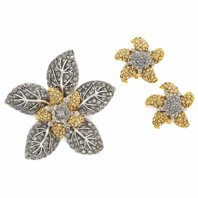 Pair of Metal and Rhinestone Starfish Earclips and Brooch, Barrera